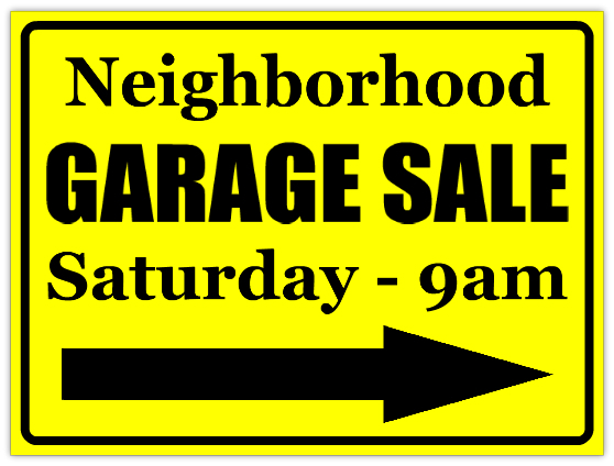 signs for garage sale