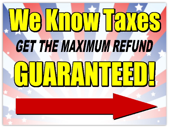 Tax Refund Sign 101 Advertising Sign Templates