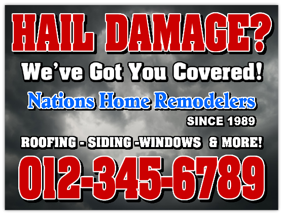 Hail Damage Signs Roofer Advertising