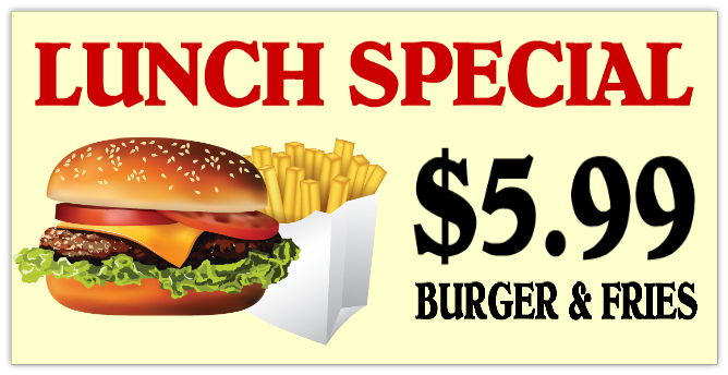 Lunch special banner 101 restaurant bar banner for Lunch specials