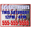 Baseball Tryouts Sign 101